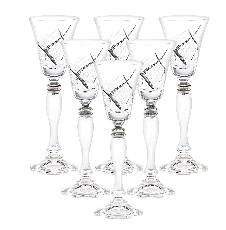 Glazze Crystal RMC-078-PL Cordail Liquor Glasses, 7'' Height, 2 oz, Platinum