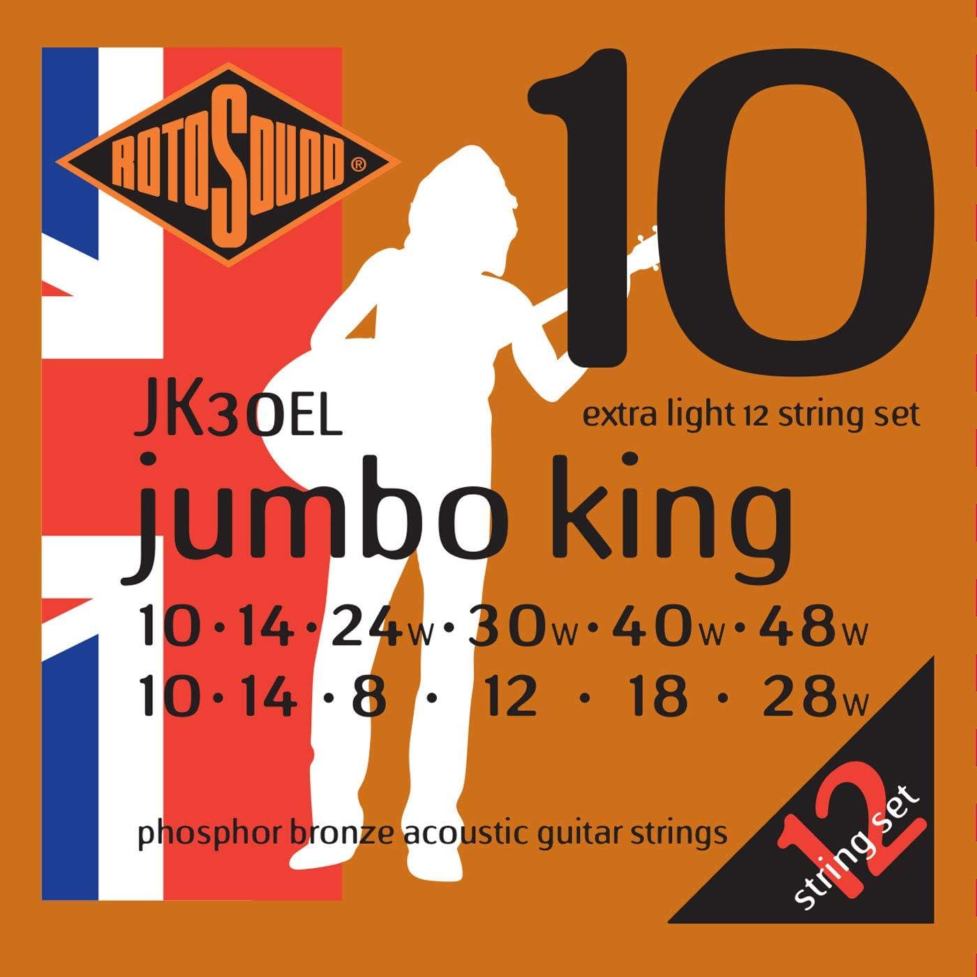 Rotosound JK30EL - Juego de cuerdas para guitarra acústica de fósforo/bronce, 12-12, 20-9