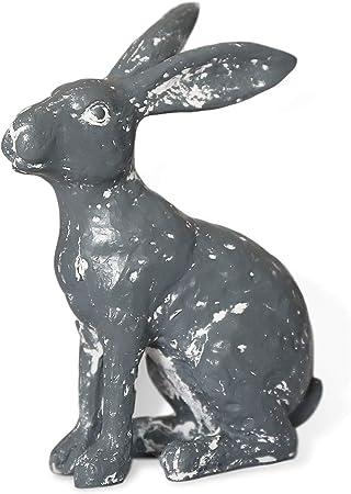 Handmade Resin Craft Rabbit Collectibles Garden Lawn Ornament Gray B