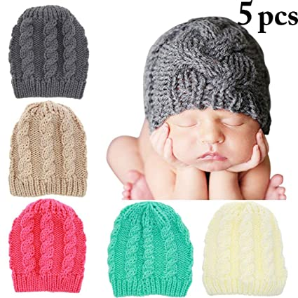 207bac05d Zoylink Baby Girl's 5Pc Cap Solid Wool Cap Beanie Hat Cap Infant One ...