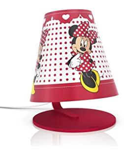 Philips Disney Minnie Mouse - Lámpara de mesa infantil, LED, luz blanca cálida,