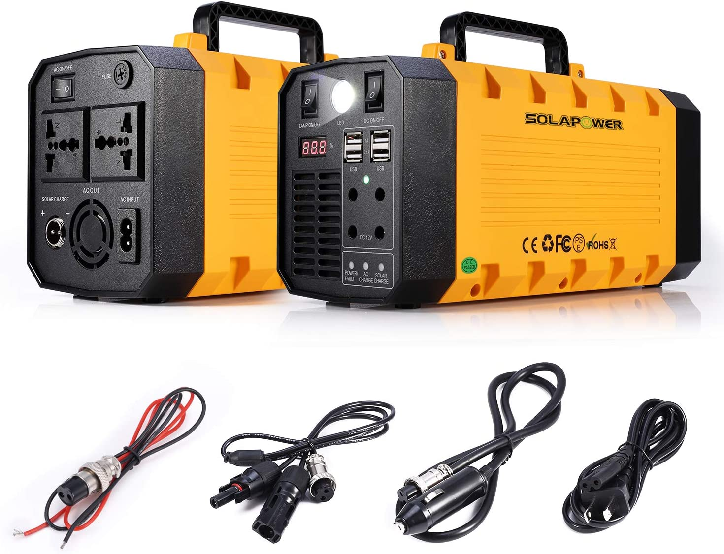 SOLARPOWER 500W Generator Portable Power Station- UPS 500W Continuous 1000w Peak -Lithium Battery Inverter with 110V AC Outlet, 4 DC 12V Port, 4 USB, Solar Generators for Camping CPAP Emergency Home