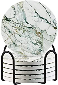 Lahome Marble Pattern Coasters for Drinks, Round Absorbent Ceramic Stone Design Coasters Set with Holder for Mugs Cups Tabletop Protection Room Decor (White, 6)