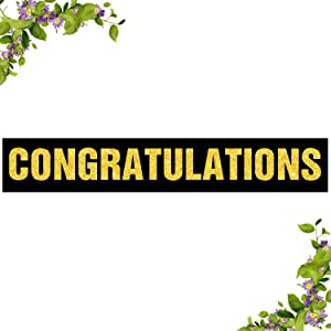 Black Congratulations Large Banner for 2020 Graduation - Wedding - Congrats Grad - We are Engaged - Happy Retirement Bunting Party Indoor Ourdoor Home Decoration (9.8 x 1.6 feet)
