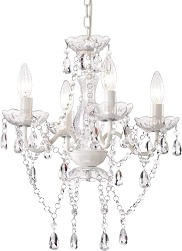 Mini Crystal Chandeliers Acrylic White Chandelier Lighting 4 Light Modern Hanging Light Fixtures