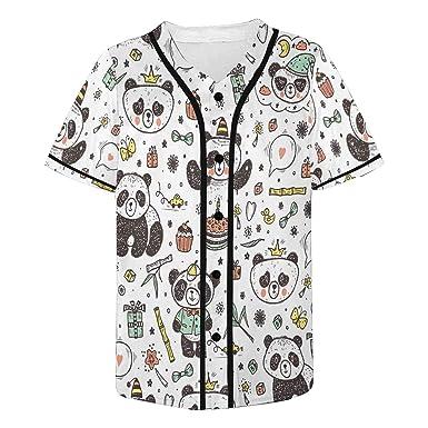 INTERESTPRINT Mens Baseball Jersey Button Down T Shirts