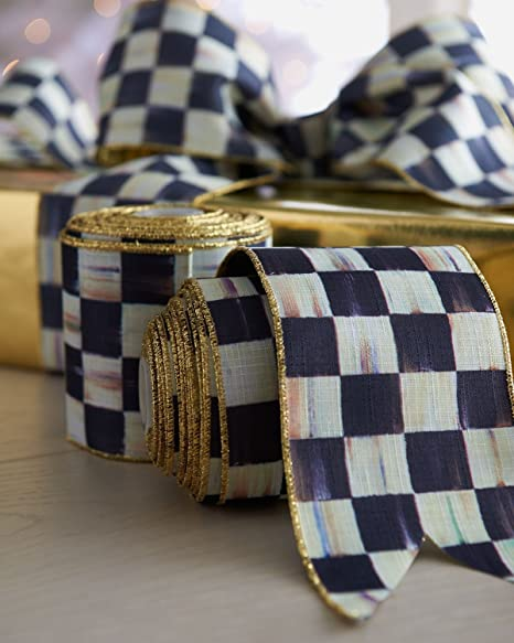 Mackenzie Childs Courtly Check Wrapping Wide Gold Striped Ribbon For Decor 4 Wx 10 Yards H Black White Gift Ribbon