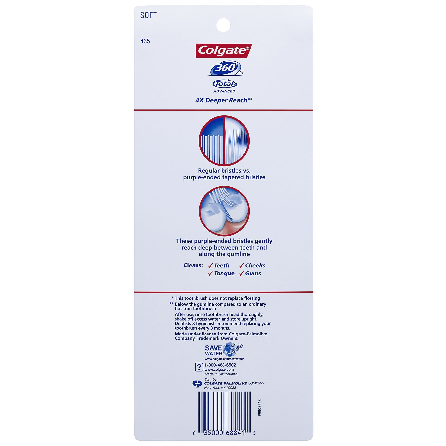 Colgate 360° Total Advanced Floss-Tip Bristles Toothbrush, Soft - 4 Count by Colgate (Image #2)