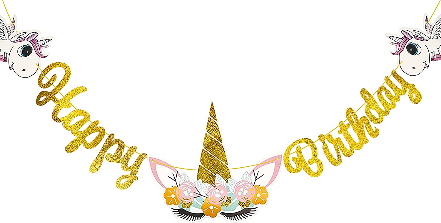 KAXIXI Unicorn Birthday Party Decorations for Girls, Cute Unicorn Happy Birthday Banner Party Supplies for Kis Unicorn Theme Birthday Party Favor Photo Props, Baby Shower, Home Decor (Gold)
