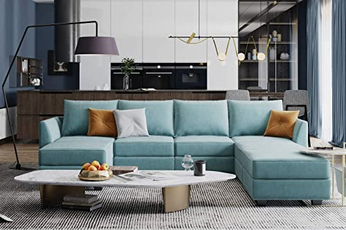 HONBAY Modular Sectional Sofa U Shaped Couch Convertible Sofa Couch