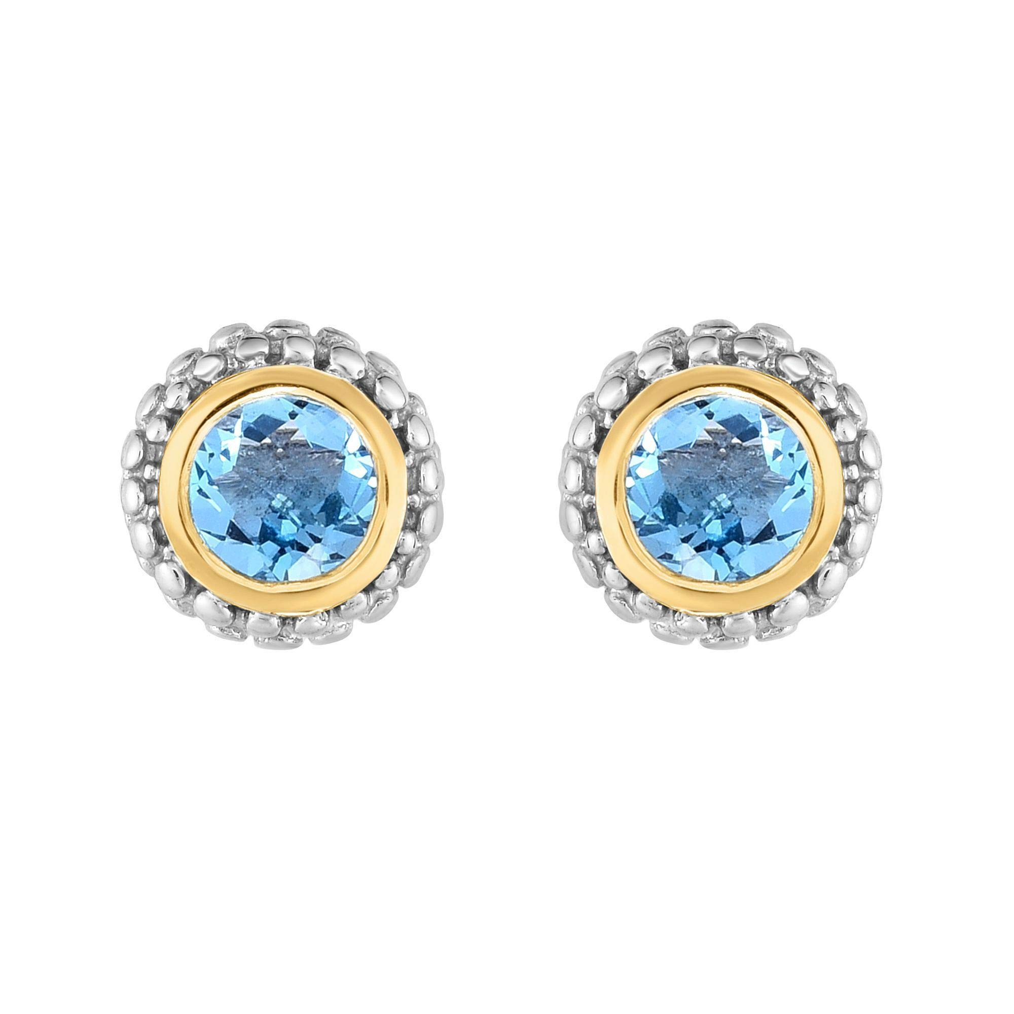 18k Gold And Sterling Silver Blue Topaz Stud Earrings