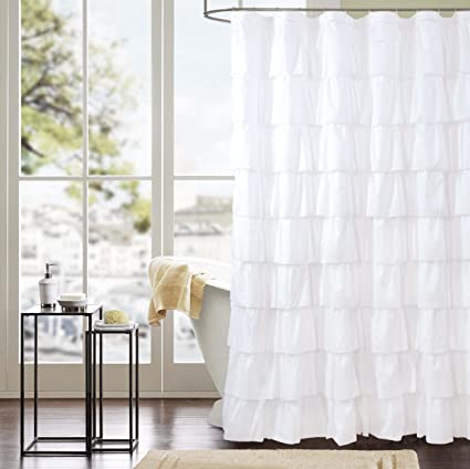 Smocking Ruffle Shower Curtain With Hooks For Bathroom 72 X Inches Texture Fashion Microfiber