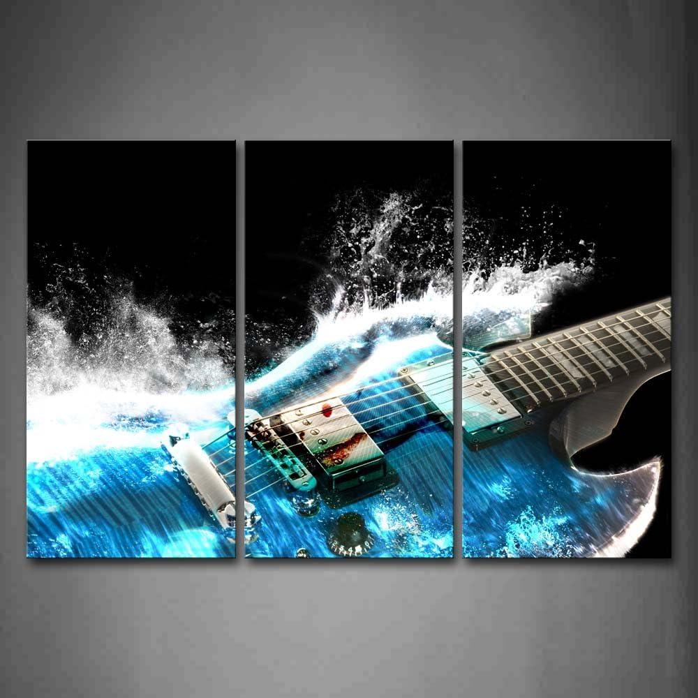 First Wall Art - Guitarra Cuadros en Lienzo La Música es Poderosa como Las Ondas Azules Decoracion de Pared 3 Piezas Modernos Mural Fotos para Salon,Dormitorio,Baño,Comedor