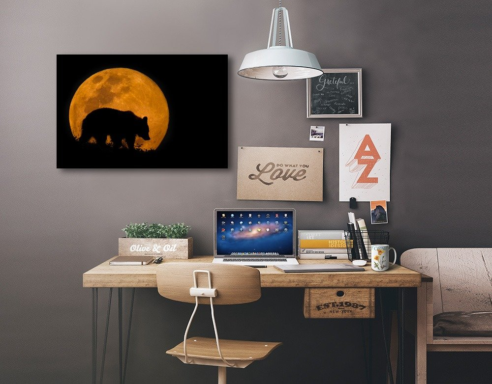 Bear Silhouette and Full Moon 36x24 Gallery Wrapped Stretched Canvas