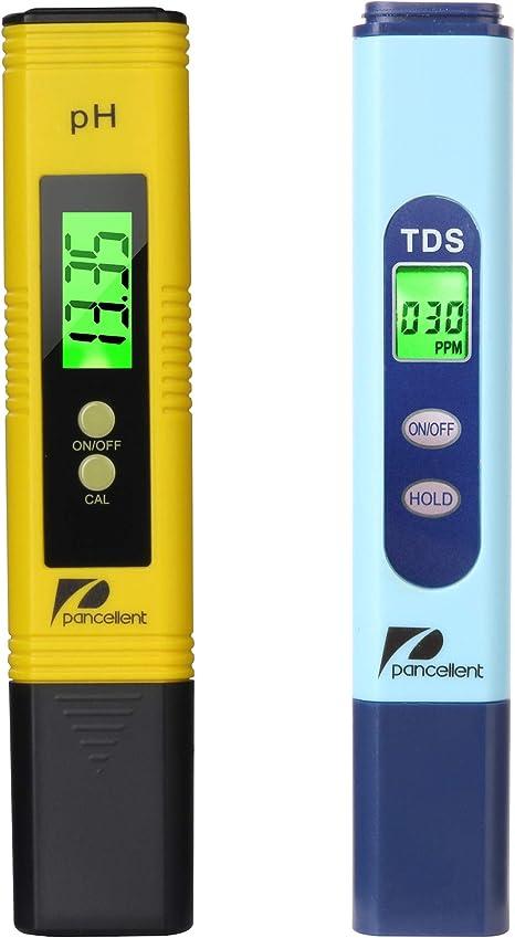 Pancellent Wasserqualitätstest Meter Tds Ph 2 In 1 Set 0 9990 Ppm Messbereich 1 Ppm Auflösung 2 Ablesegenauigkeit Gelb Küche Haushalt