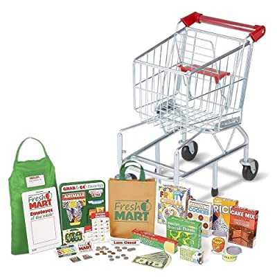 Melissa & Doug Bundle Includes 2 Items Toy Shopping Cart with Sturdy Metal Frame and Melissa amp; Doug Fresh Mart Grocery Store Food and Role Play Set 70+ Pcs Toy: Toys & Games [5Bkhe0401029]