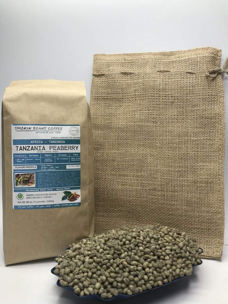 5 Pounds - Southern Africa - Tanzania Peaberry - Unroasted Arabica Green Coffee Beans - Grown in Southern Highlands - Altitude 1400-2000 M - Drying/Milling Process Wet Processed - Includes Burlap Bag by Smokin Beans