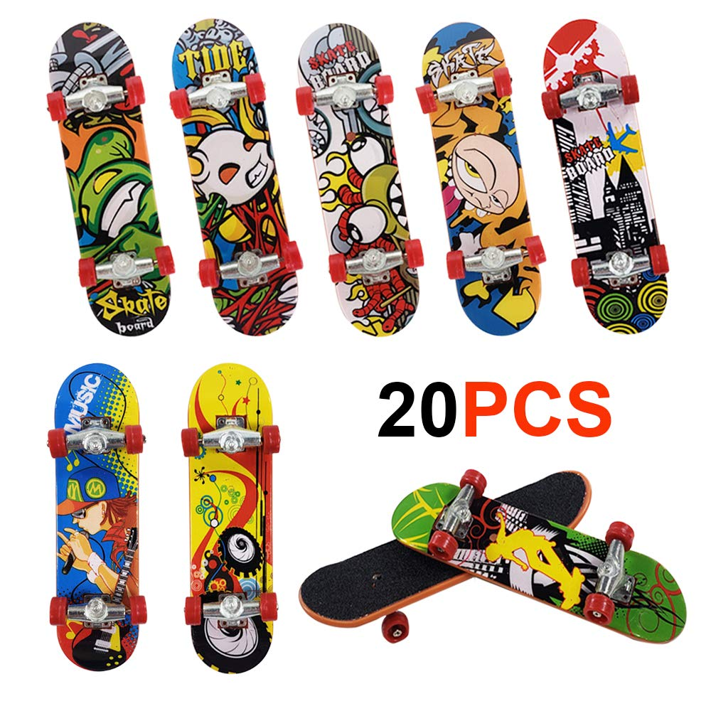 Gtlzlz 20pcs Professional Mini Metal Fingerboards/ Finger Skateboard, Unique Matte Surface Party Favors Novelty Toys for Kids Party Supplies (Random Pattern)