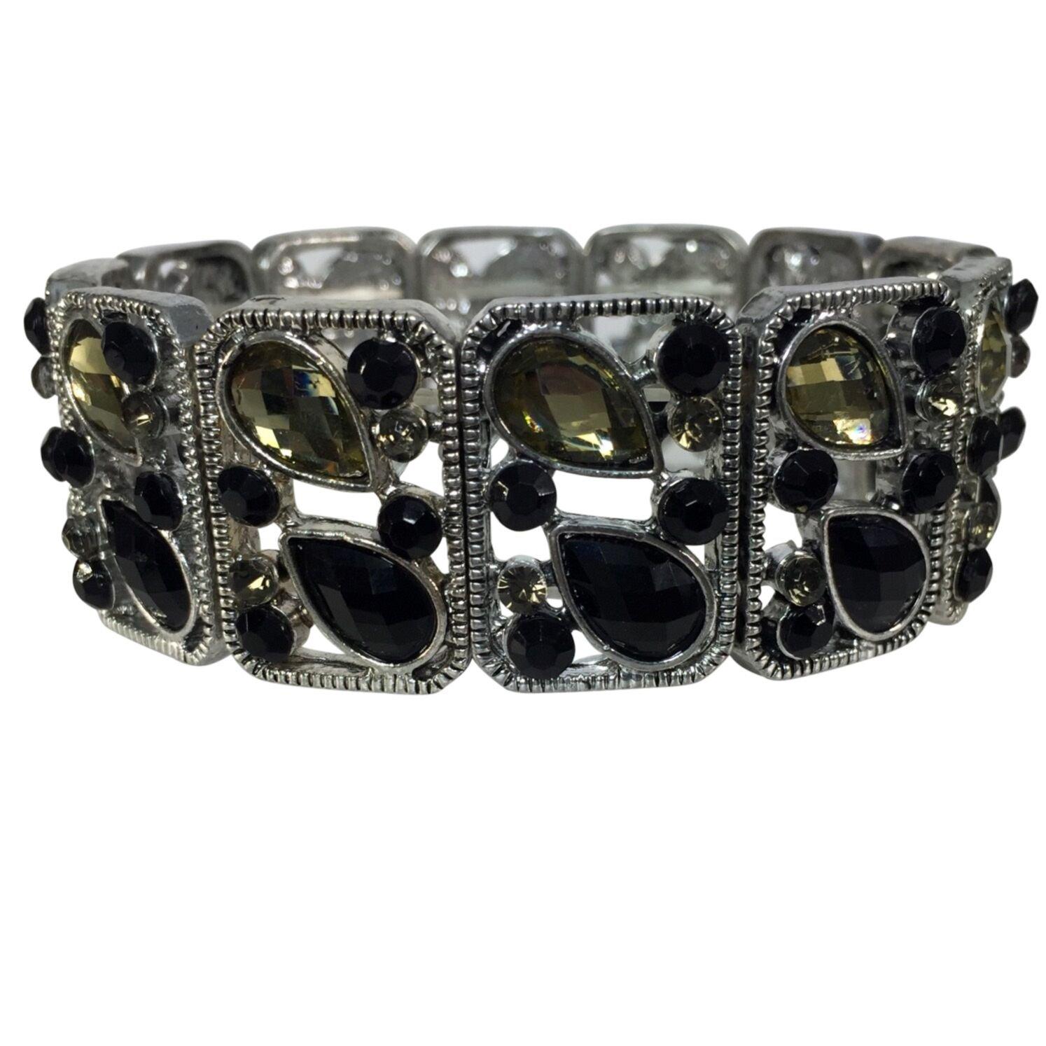 Designer look Open Rhinestone Stretch Bracelet (Teardrop & Dot)