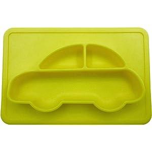 phalatina 離乳食 練習用 子供 幼児 食器 ノンスリップ 車 男の子 ひっくり返さない 安心 安全 シリコン 素材 (イエロー)