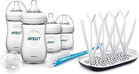 Philips Avent Set de Biberones - Kit esencial para recién nacidos, gama Natural SCD290/01 + Escurridor para biberones, extractores y chupetes, rejilla de secado con bandeja antigoteo desmontable: Amazon.es: Bebé