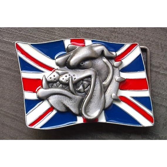 hotrodspirit - boucle de ceinture drapeau anglais et tete de bulldog rock bede2fe0a34