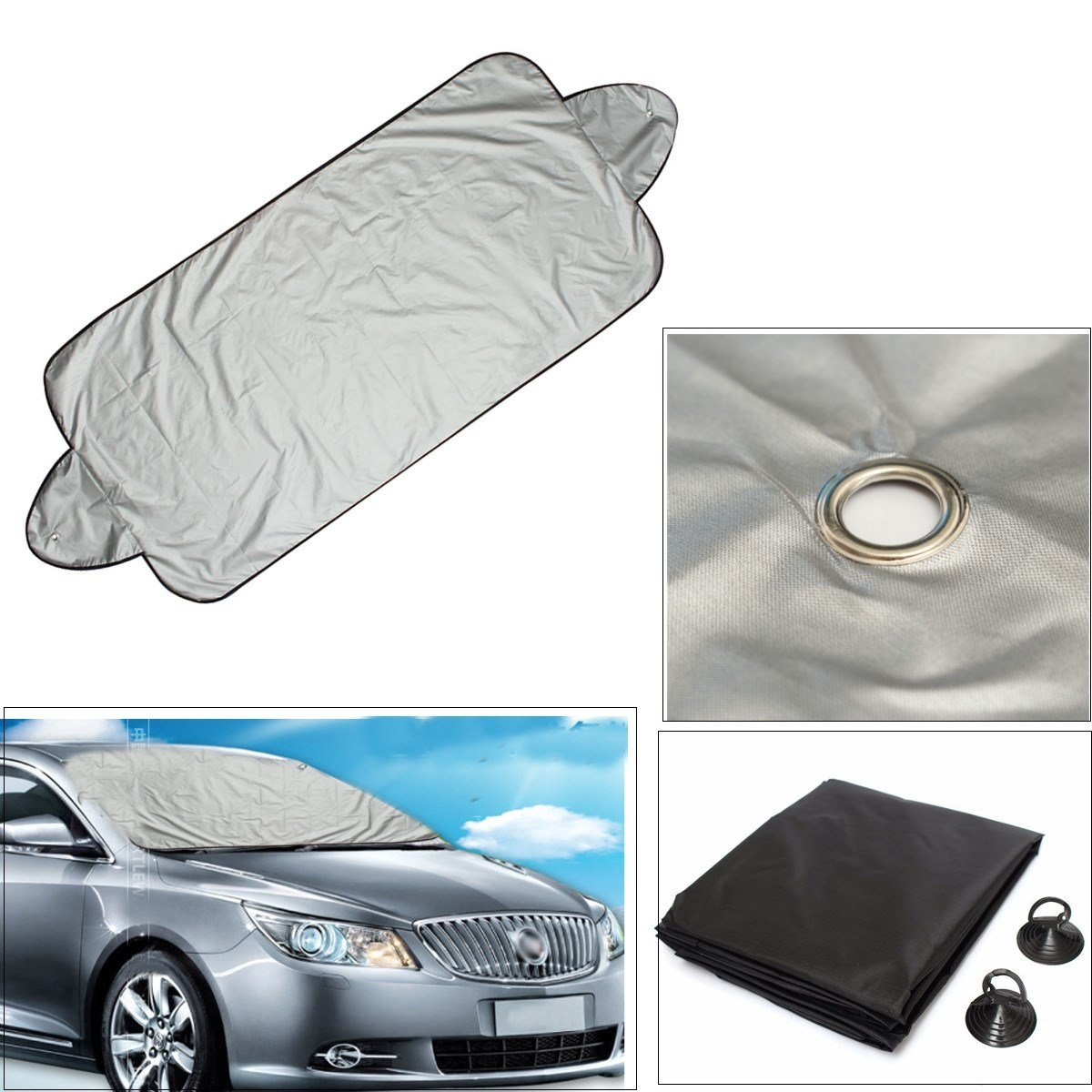 QCYM Universal 146 X 70Cm Car Windscreen Cover Heat Sun Shade Anti Snow Frost Ice Shield Dust