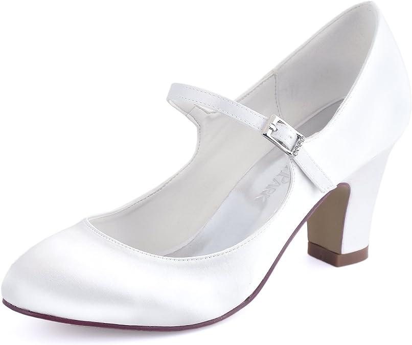 Elegantpark HC1801 Mary Jane Zapatos Nnovia Mujer Cerrado Punta Zapatos Tacón Alto Bloque Boda Hebilla Satén Zapatos para Novia Boda