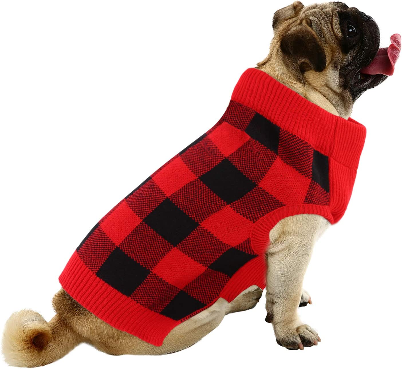 ASENKU Dog Sweater Pet Turtleneck Sweater for Small Medium Large Dogs Winter Warm Pet Christmas Sweater with Leash Hole
