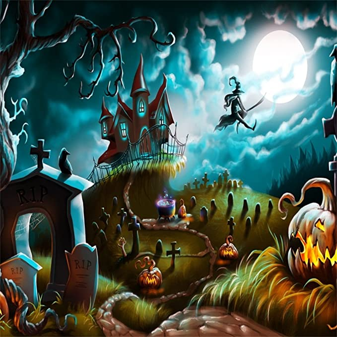 Halloween Night Photography Backdrop 8x6.5ft Haunted Castle Background Cartoon Crescent Moon Grimace Pumpkin Starry Sky Cemetery Cross Masked Ball Baby Kids Holiday Photo Prop Video Decor