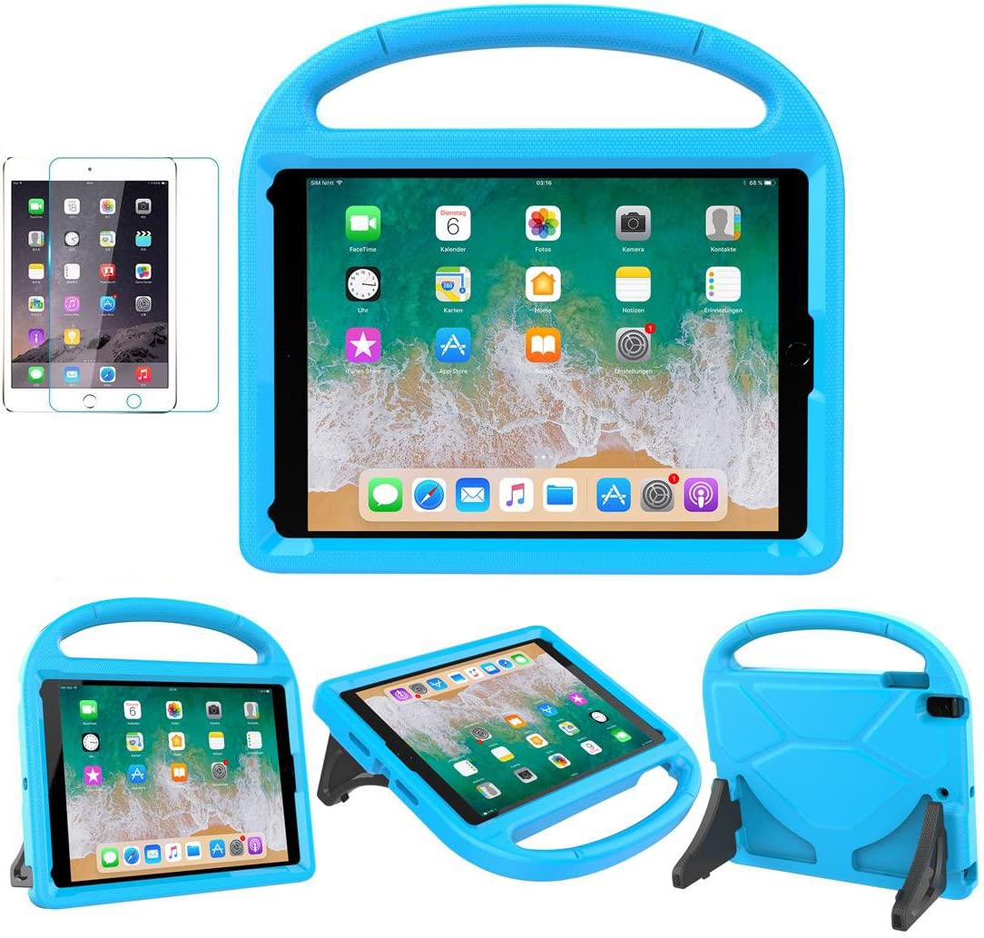 iPad 9.7 2018 / 2017 / Air 1/2 / Pro 9.7 Case for Kids - SUPLIK Duable Shockproof Protective Handle Bumper Stand Cover with Screen Protector for iPad 9.7 inch 5th/6th Generation, Blue