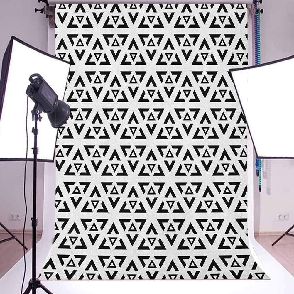 7x10 FT Black and White Vinyl Photography Backdrop,Abstract Art Style Modern Monochrome Design of Triangles Illustration Background for Baby Shower Bridal Wedding Studio Photography Pictures
