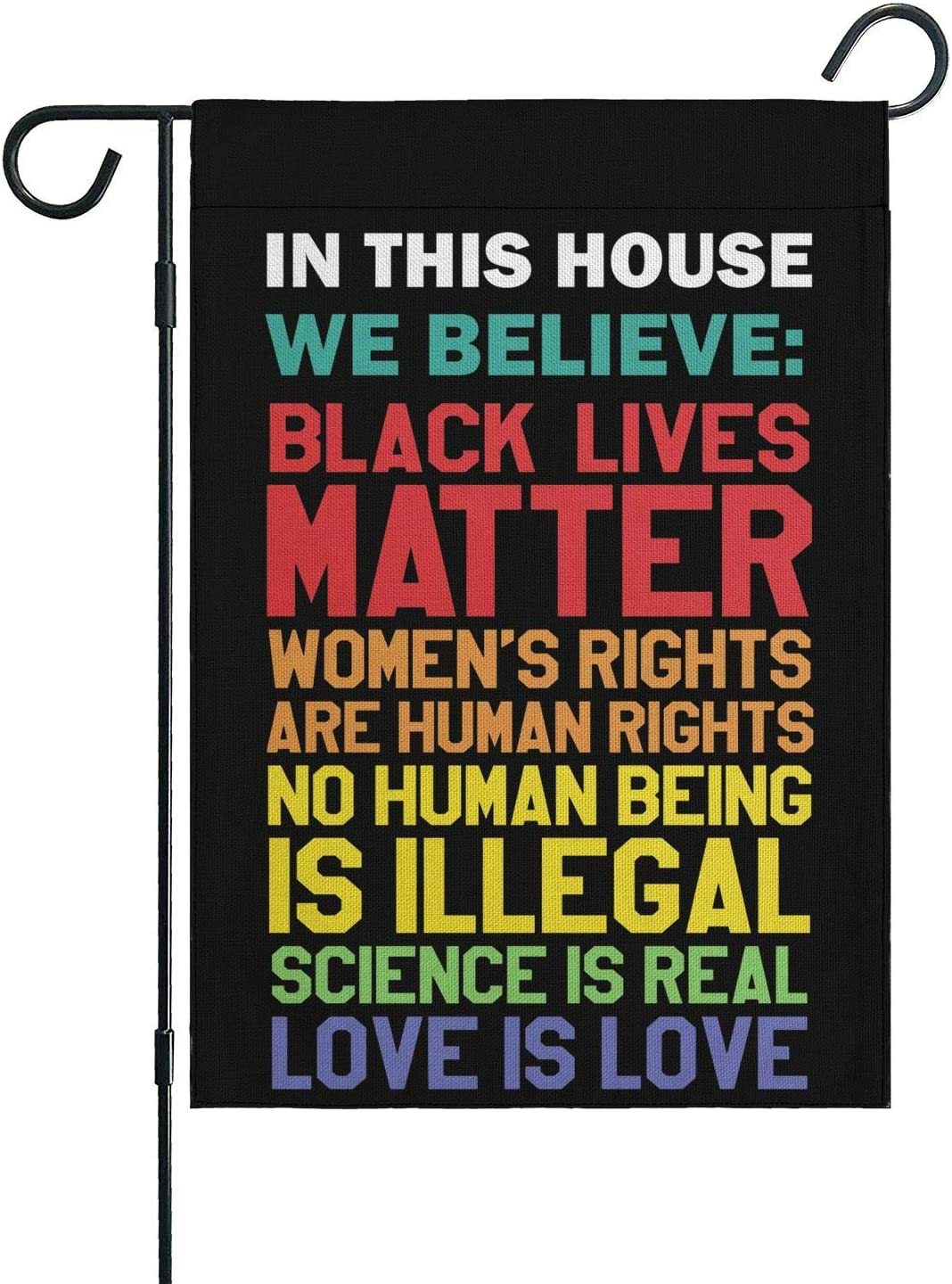 Black Lives Matter Lawn Sign in This House We Believe Flag Together We Rise House Decorative Garden Flags Yard Outdoor Decor 12 x 18 Inches Kindness Peace Equality Love Flag