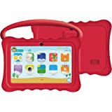 Auto Beyond 7inch Kids Tablet PC with Handle Silicone Case-Quad Core 1.2GHz,8GB ROM,Wi-Fi,Bluetooth,Dual Camera,Touchscreen,1024x600 Resolution,Google Android 4.4-(Red)