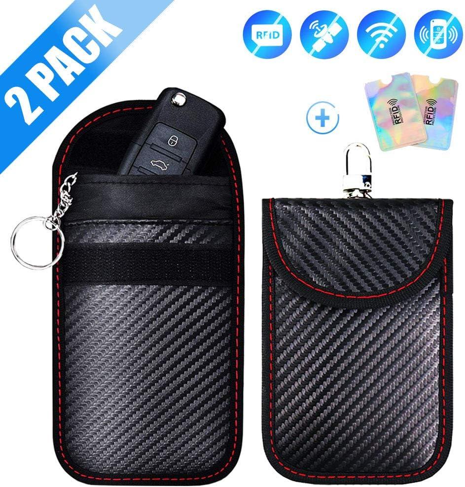 2X Signal Blocker Car Key Case Faraday Cage Fob Pouch Keyless RFID Blocking Bag