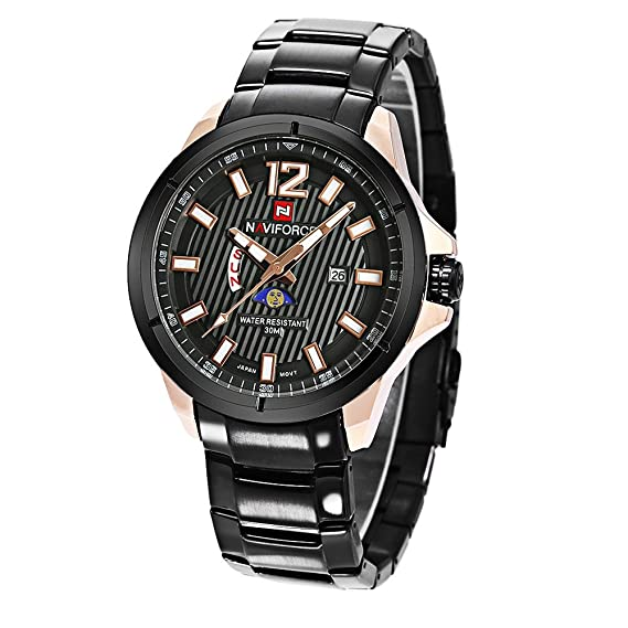 Naviforce reloj 9084 Sport Business relojes hombres reloj de cuarzo banda de acero luminosa relojes de