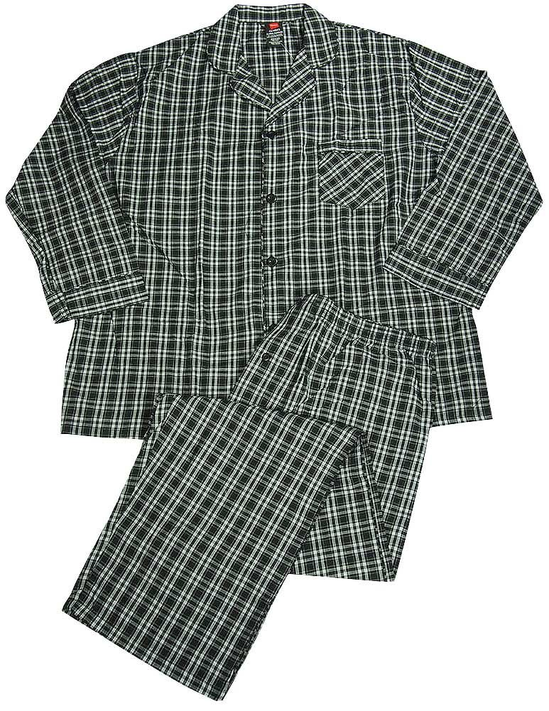 Hanes - Mens Tall Long Sleeve Broadcloth Pajamas, Black, White 37518-XX-LargeTall