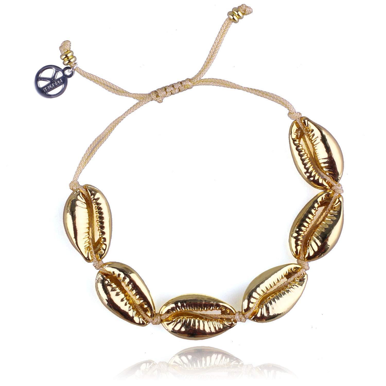 KELITCH Hot Lips Shape Wrap Bracelets Shell Beaded Friendship Bracelets Kiss Charm Bangle DIY Gifts of Love for Women (Gold)