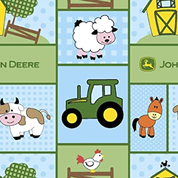John Deere Baby Barnyard Patch Cotton Fabric 43 44 Wide Fabric By The Yard