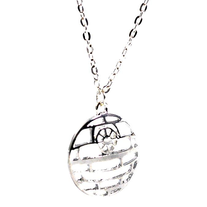 Beaux Bijoux Star Wars Necklace - Silver Tone Star of Death Pendant - Movie Inspired Jewellery HANJNZ