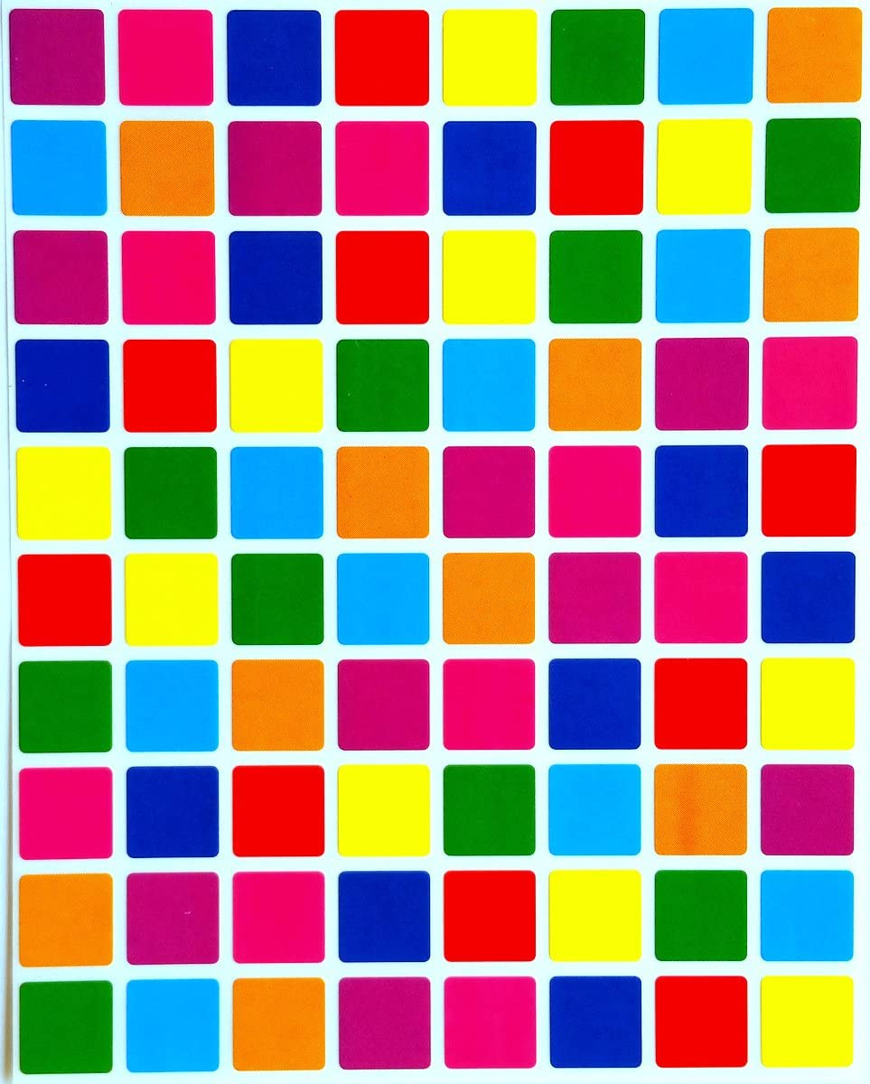 Square Color Coding Labels 1/2 inch by 1/2 inch-Assorted Colors Stickers 8 Colors- Blue, Dark Blue, Red, Purple, Green, Orange, Pink and Yellow- Multi Pack-Classic Colors semi Gloss 1200 Pack