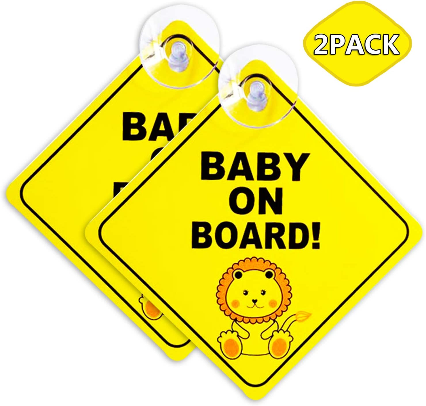 Removable Cute Diamond Shape Little Lion Design Baby on Board Safety Warning Sticker Acehome 2 Pack Baby On Board Sign For Car With 4CM Bigger Suction Cup