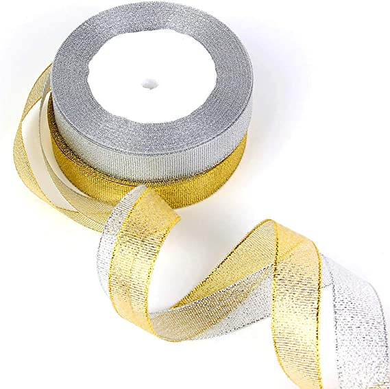50 Yard Roll 6mm SILVER GLITTER Sparkle Organza Ribbon Double Sided Wedding UK