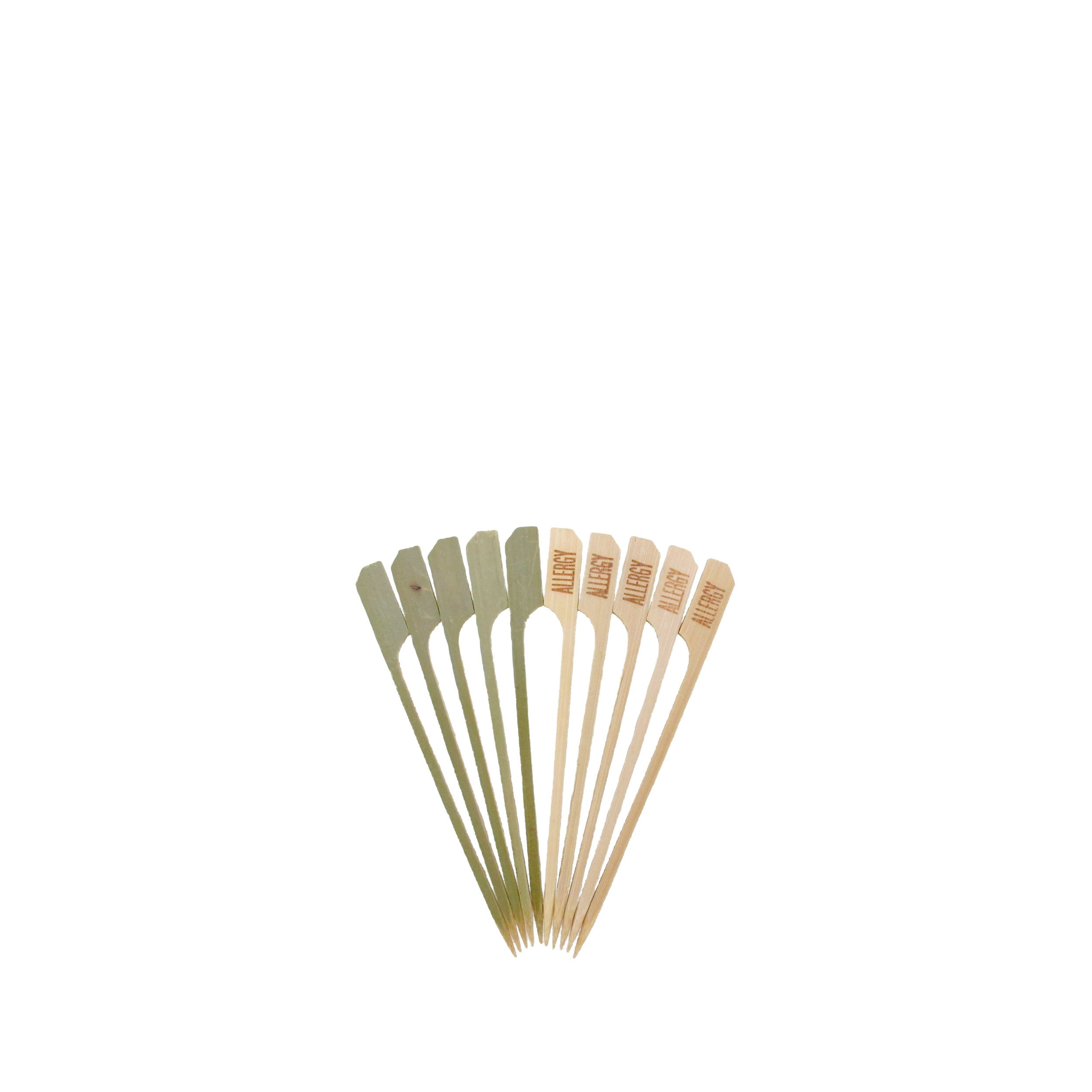 BambooMN 4.7'' Food Allergy Marking Natural Bamboo Paddle Picks Sticks for Catered Events, Holiday's, Restaurants or Buffets Party Supplies, 300 Pieces