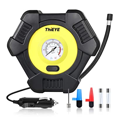 ThiEYE Portable Tire Inflator, Air Compressor Pump for Car 12V DC Swift Performance Tire Inflator for Car, Bicycle, Motorcycle, Basketball and Other Inflatable with Analog Pressure Gauge: Automotive