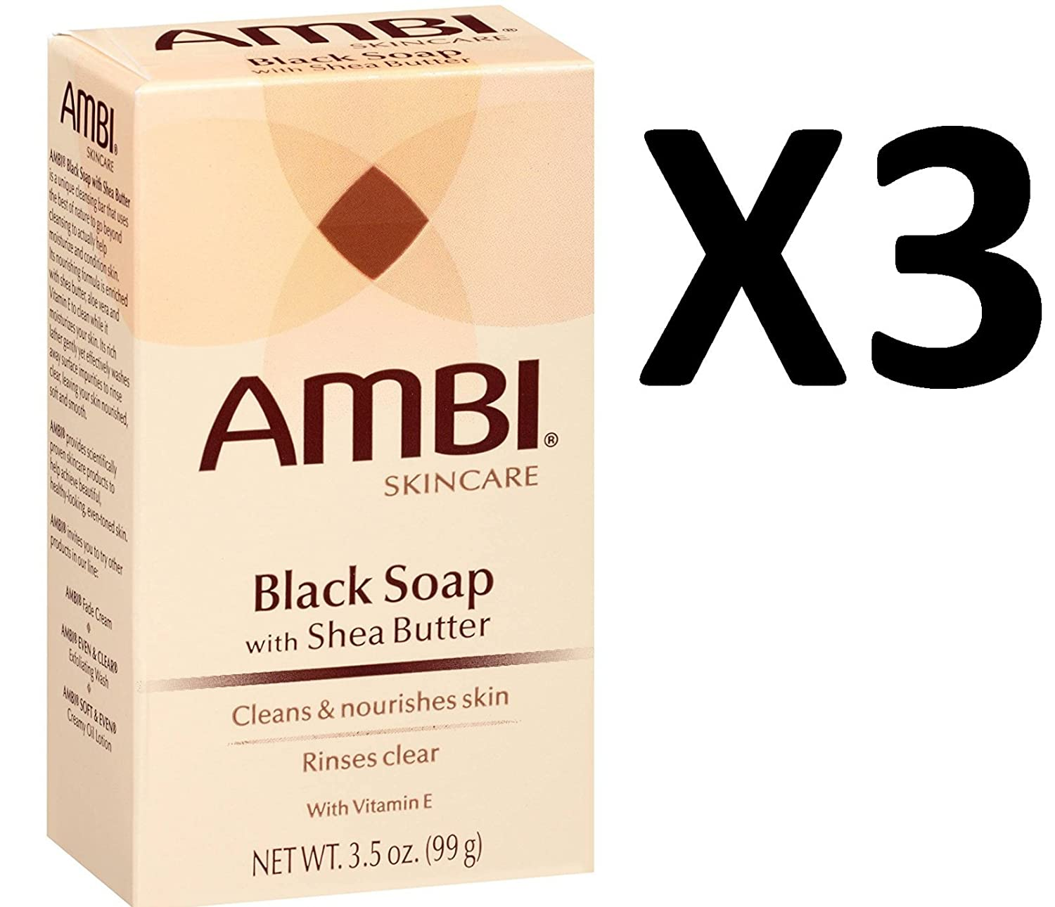 Ambi Black Soap with Shea Butter 3.50 oz (Pack of 3) Two Phase MakeUp Remover For Eyes (Salon Size) 16.9oz