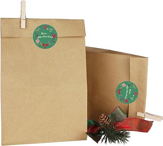 Gift Bag Christmas Advent Calendar DIY H 23 cm 5 Paper Bags Snowflakes REDWHITE 7.5 x 12 cm
