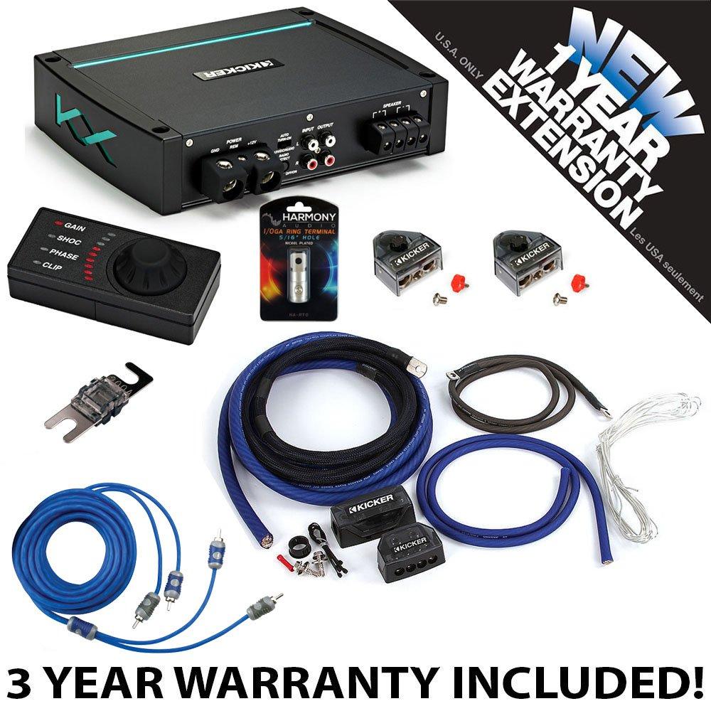 Kicker 44KXMA12001 Marine Audio Sub Amp KXMA1200.1 & 1/0 GA Amplifier Accessory Kit - 3 Year Warranty!