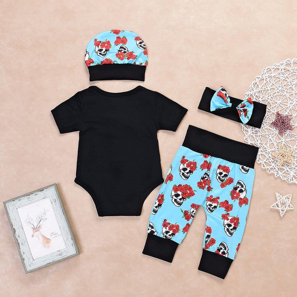 4Pcs Set Suit Outfits Rose Flower Skull Print Bow Romper Jumpsuit Long Pants Headband Cap uBabamama for Newborn Baby Boys Girls Black,3M