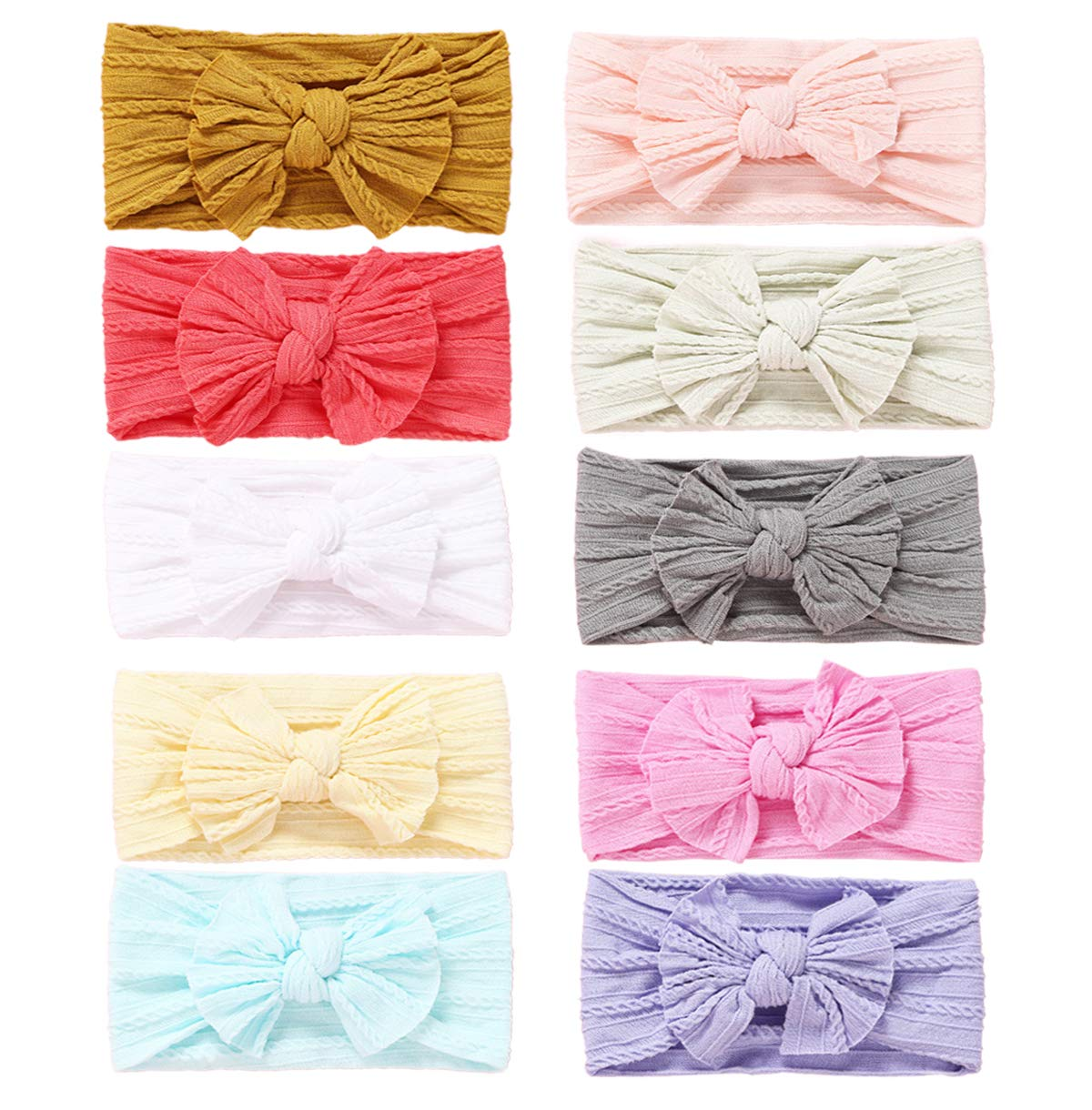 10pcs Baby Girl Nylon Headbands Newborn Infant Toddler Hairbands and Bows Child Hair Accessories (2019LXZB) by Mookiraer